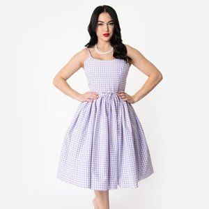 Bernie Dexter Lavender Gingham 1950s Swing Dress